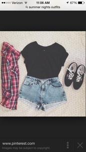 denim,high waisted,shorts,cardigan,shirt,checkered red blue white,t-shirt,black t-shirt,jacket