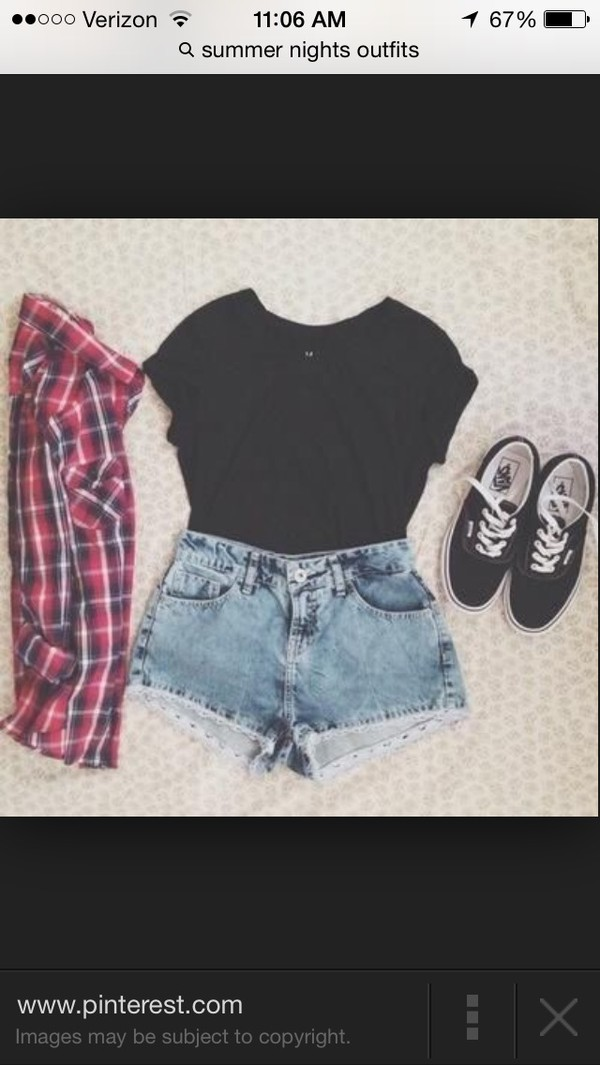 denim high waisted shorts cardigan shirt checkered red blue white t-shirt black t-shirt jacket