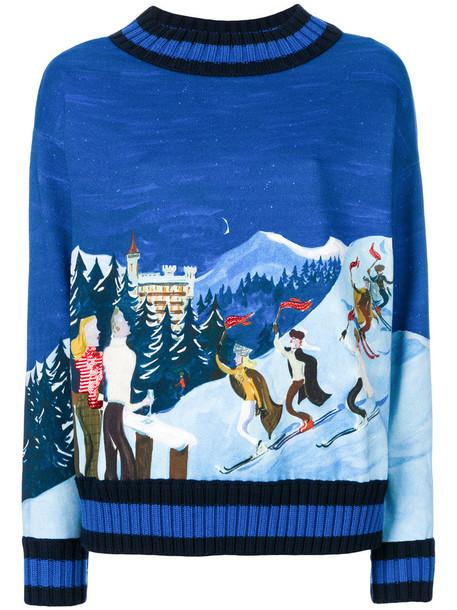 Moncler - ski embroidered sweater - women - Cotton - XS, Blue, Cotton