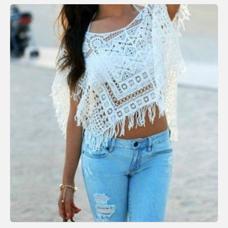 blouse knit fringe tank top
