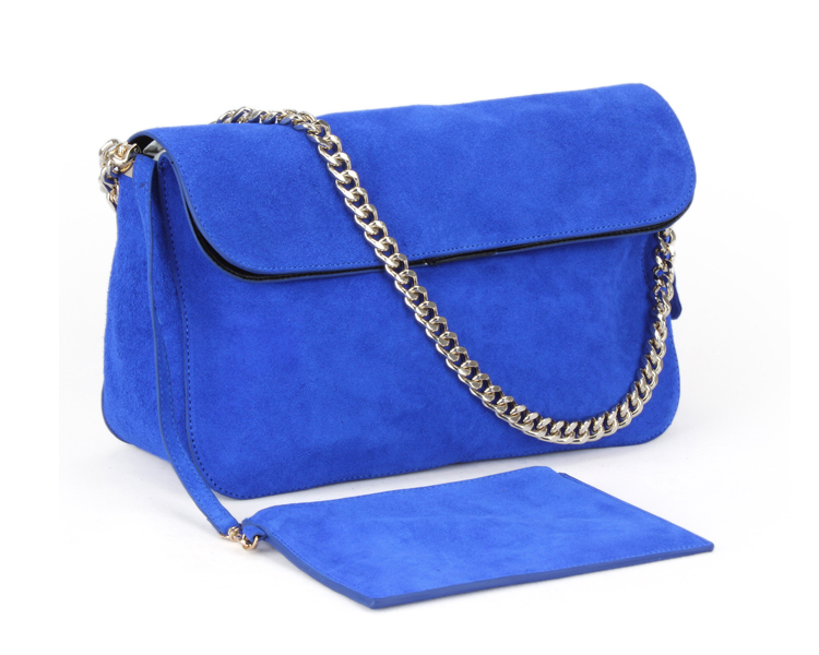 New fashion brand designer gem blue suede handbag fashion women's nubuck genuine leather one shoulder chain bag clutch bag