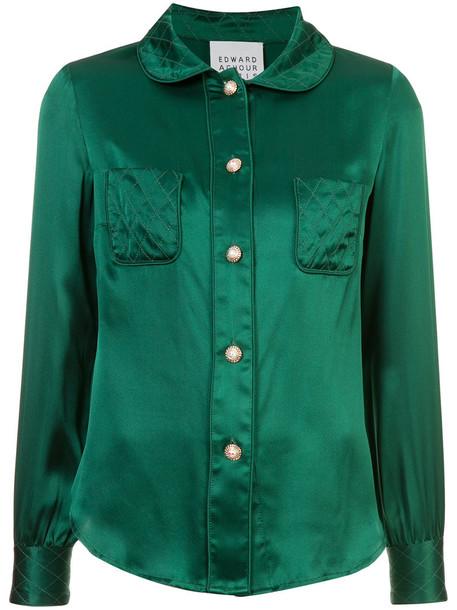 shirt women classic silk green top
