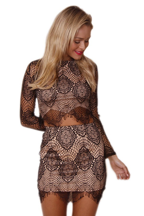 Black Lace and Nude Lined Mini Skirt
