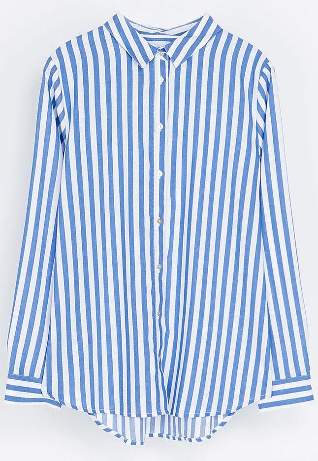 Blue white vertical stripe lapel long sleeve blouse