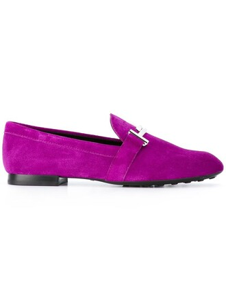 women slippers leather suede purple pink shoes
