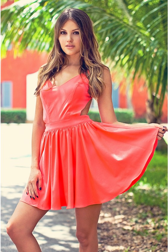 Pink Cocktail Dress - Coral Swing Dress with Open | UsTrendy