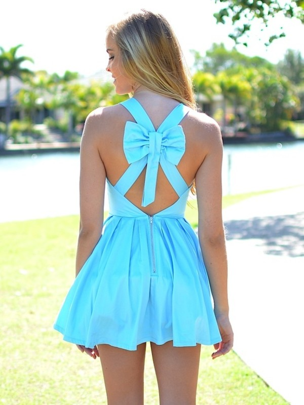 dress bow turquoise aqua dress cut-out cross back blue dress prom dress bun beautiful awesomness blue short dress bright summer dress cute dress blouse cute summer girly summet girly outfits tumblr light blue dress i want this dress
