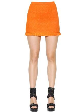 skirt mini skirt mini knit wool orange