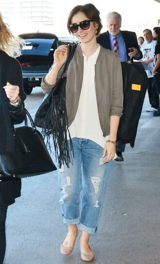 shoes boyfriend jeans lily collins fall outfits cardigan ballet flats
