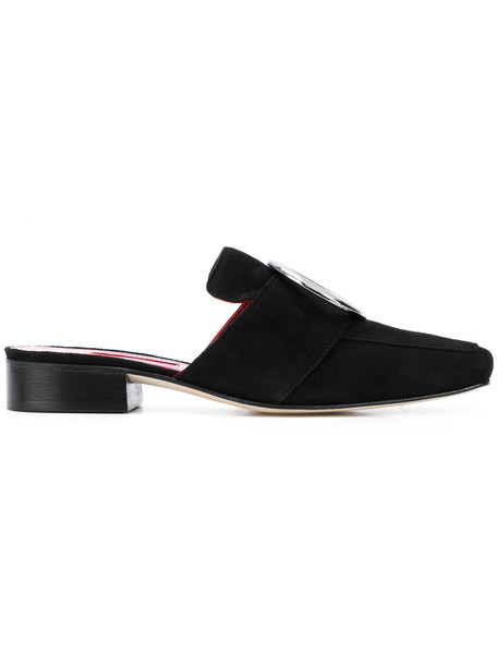 Dorateymur women mules leather suede black petrol shoes