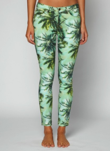 jeans tropical tropical print leggings pants floral leggings tropical print pants