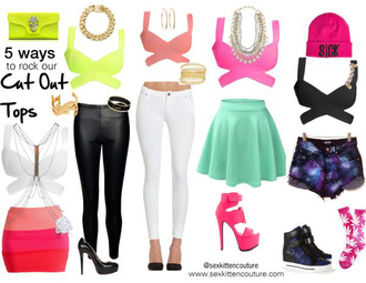skirt top summer outfits sex kitten couture cut out tops summer style neon yellow cut out top neon yellow neon pink neon pink cut out top black cut out top white cut out top body chain coral cut out top coral gold jewelry beanie jeans galaxy shorts coral skirt 3 tone skirt outfit mint skirt white jeans