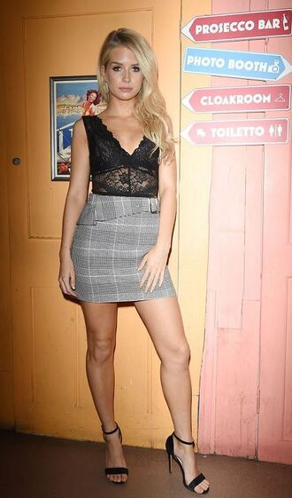 skirt plaid mini skirt sandals sandal heels top bodysuit lottie moss model off-duty