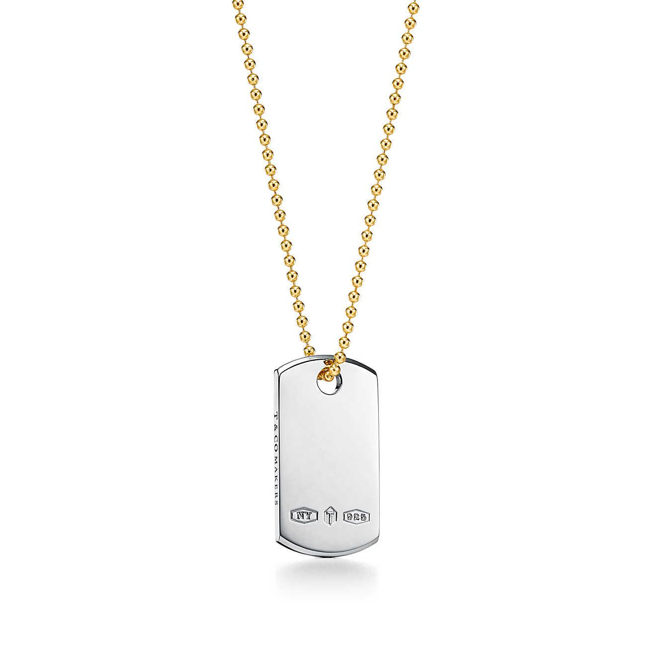 Tiffany 1837® Makers ID tag pendant in sterling silver and 18k gold, 24
