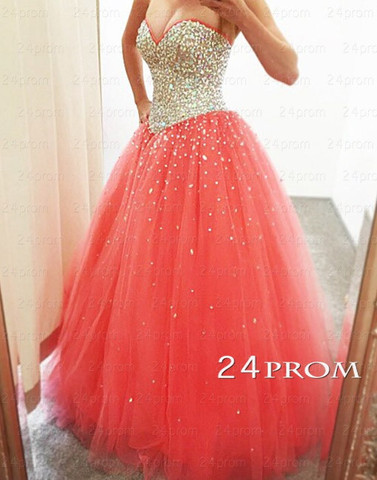 Sweetheart Neck Tulle Rhinestone Sequin Long Prom Dresses