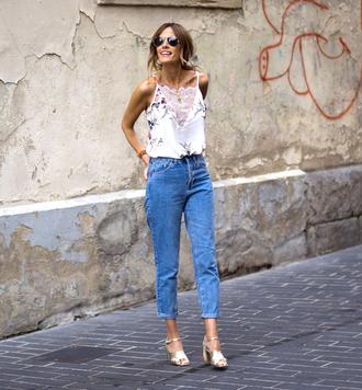 top floral top tumblr camisole floral denim jeans blue jeans sandals sandal heels