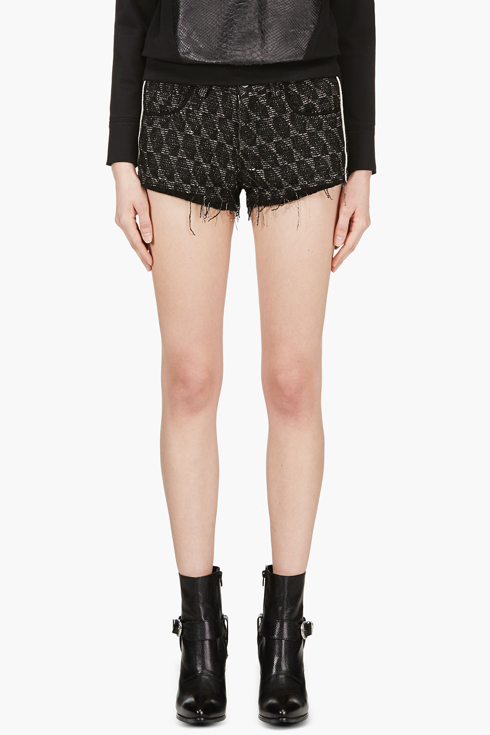iro black suede_trimmed red seth shorts