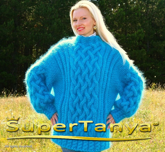 Extra thick hand knitted mohair sweater in aqua blue by supertanya
