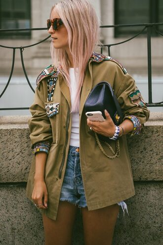 jacket tumblr embellished jacket embellished green jacket top white top denim shorts shorts blue shorts sunglasses tortoise shell sunglasses tortoise shell bag black bag streetstyle pink hair boho jacket