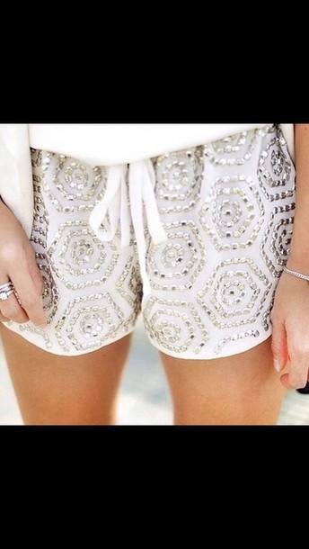shorts white lace shorts glitter shorts