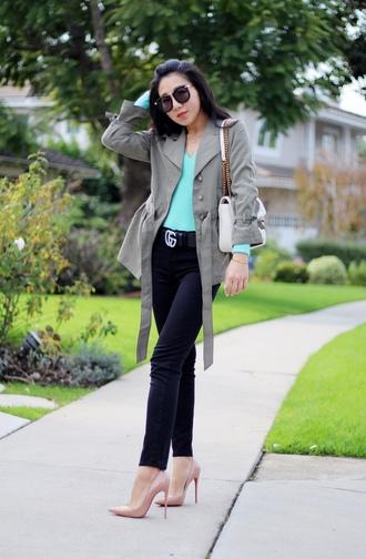 posh classy mom – a lifestyle blog by sheree blogger sweater coat blouse jeans shoes bag shoulder bag grey jacket gucci belt high heel pumps pink heels