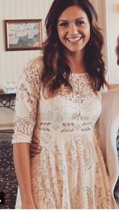 dress,bachelorette,lace dress,gorgeous dress,long sleeve dress,desiree,flowy dress,white dress