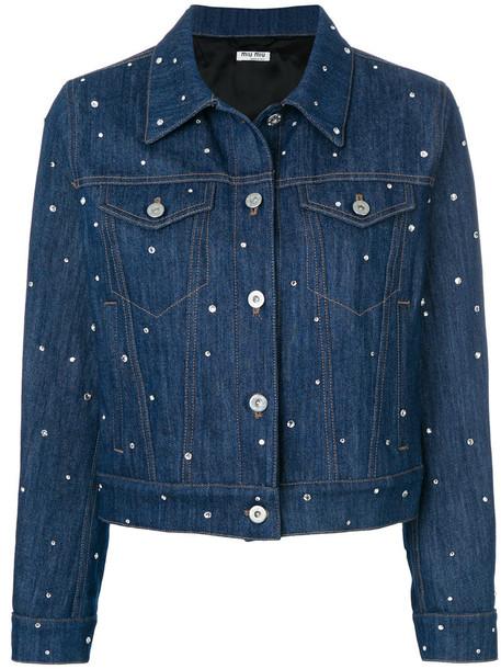 Miu Miu jacket denim jacket denim metal women embellished embellished denim cotton blue