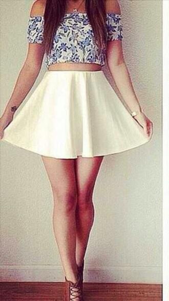 top floral skater skirt off the shoulder crop tops skirt