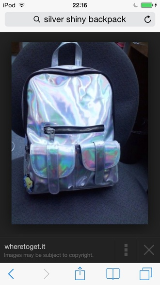 bag shiny opal backpack silver multicolor holographic