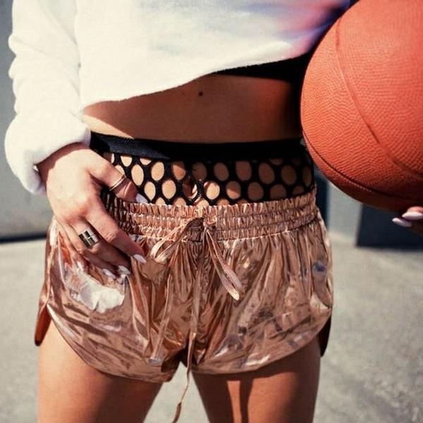 shorts metallic shorts fish net high rise underwear mesh mesh cool funny hot crop too crop tops cropped basketball texture