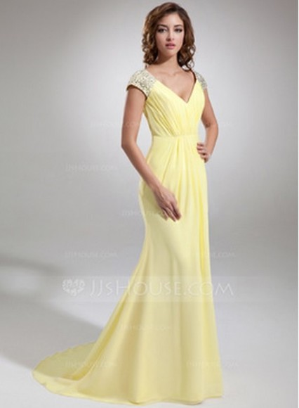 beautiful dress party sparkling gown designer mermaid evening prom long pretty yellow original beads beaded clothes