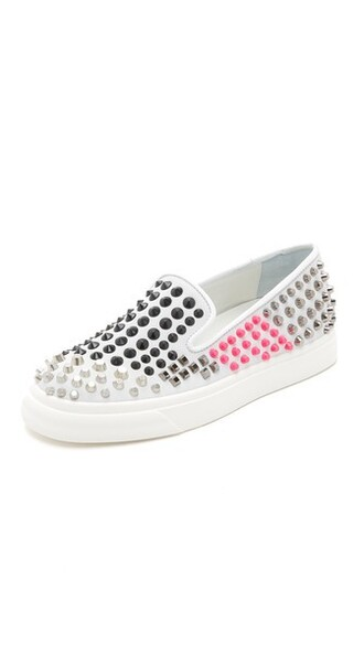studded sneakers white shoes
