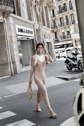 dress,nude dress,top,tumblr,slip dress,midi dress,sandals,sandal heels,high heel sandals,bag,woven bag,shoes