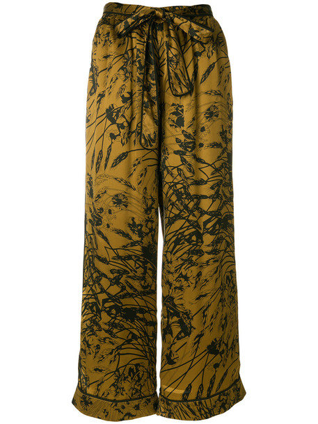 Gold Hawk women floral black silk pants