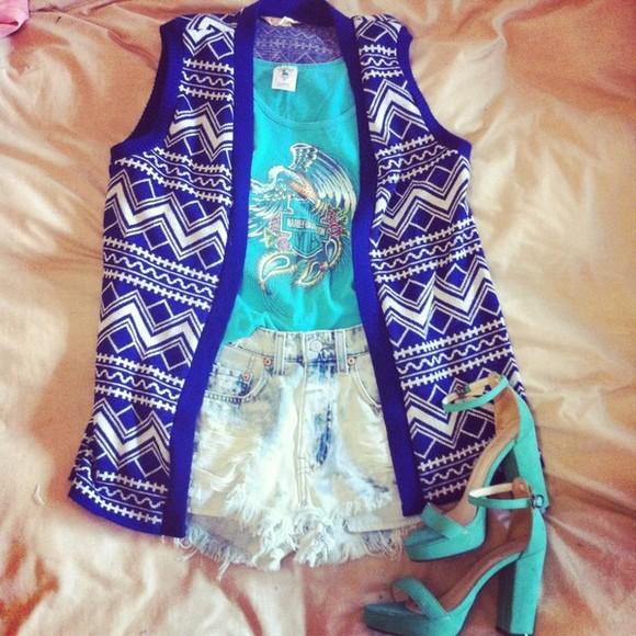 jacket blue lenni aztec gilet vest vintage shorts shirt lenny bleu