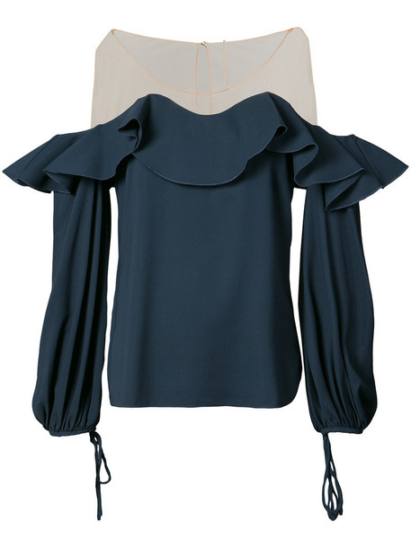 oscar de la renta blouse ruffle women blue silk top