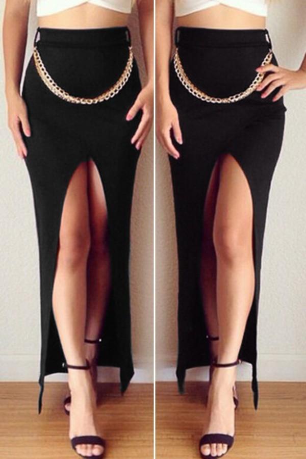 Skirt: black, black skirt, black maxi skirt, maxi skirt, high ...