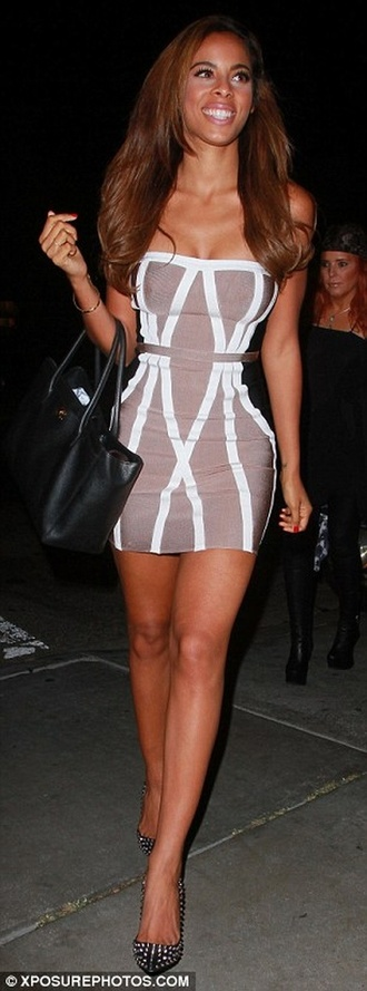 dress bandage dress celebrity style dress kim kardashian tan dress