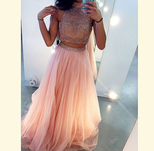 Dress Prom Dress Glitter Dress 2 Piece Skirt Set Style Skirt