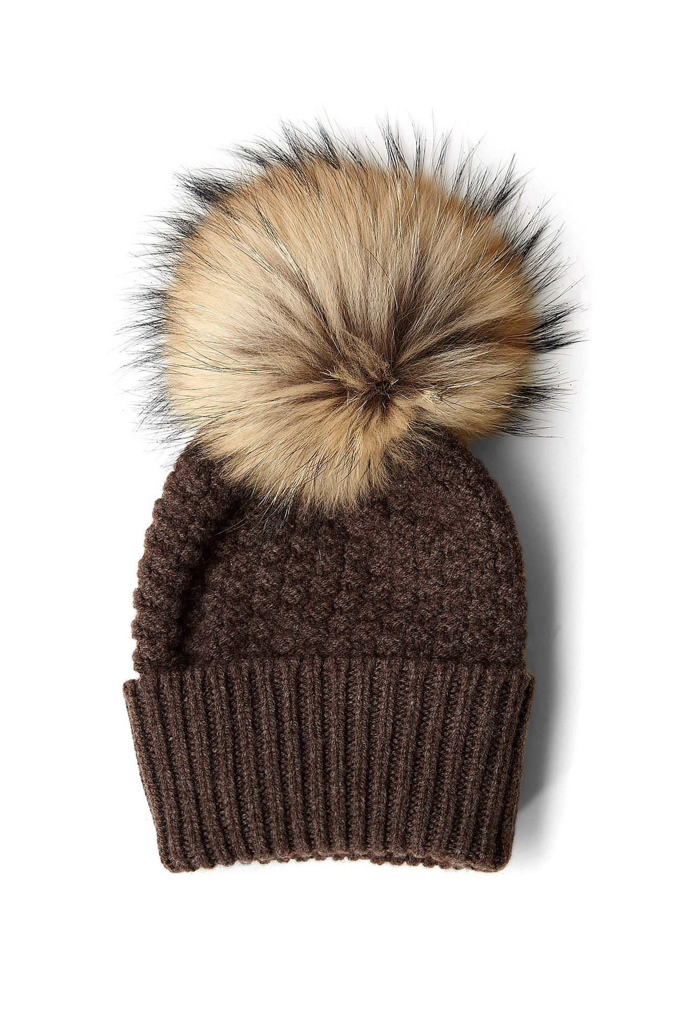 Inverni Firenze | Wool and Cashmere Beanie with Turn Up and Fur Pom Pom by Inverni Firenzi