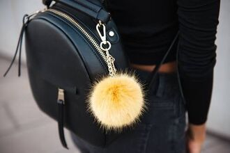 home accessory backpack leather backpack black leather backpack mini backpack fur keychain bag charm keychain fur faux fur accessories accessory bag