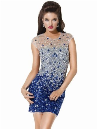 Amazon.com: Jovani 171261, Ombre Jewel Short Dress: Clothing