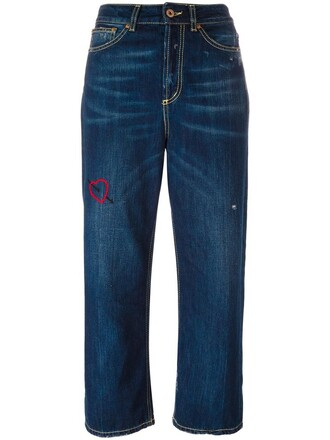 jeans cropped jeans loose cropped women fit cotton blue