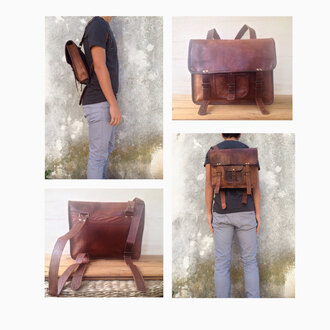 bag leather backpack brown
