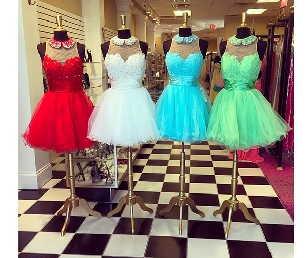 High neck party dresses short prom dresses homecoming dresses lace dresses