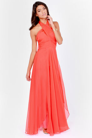Gorgeous Coral Red Dress - Rihanna Red Dress - Grammy Dress - Red Gown - $198.00