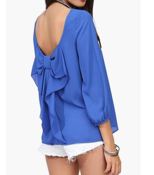 Blue Backless Chiffon Blouse with Back Bow