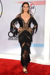 shoes,American Music Awards,lace dress,lace,black dress,black,sandal heels,gown,red carpet dress