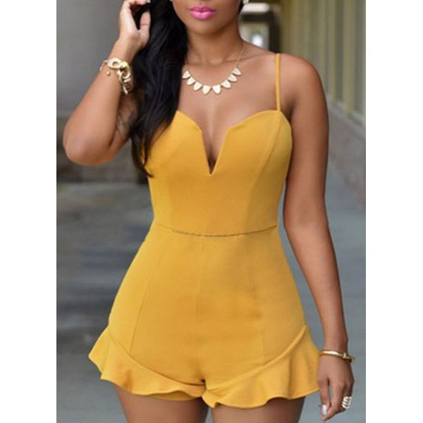 ba52c72bc4da Wholesale Casual Spaghetti Strap Solid Color Ruffled Rompers For ...