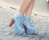 shoes,blue,denim,heels brown denim blue laces boots,high heels,boots,heels,cute,summer,spring,laces